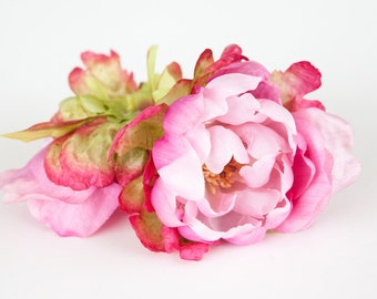 Smaller Peony Bombshell in Two Tone Pink - 4 inches - Silk Flowers, Artificial Flowers - ITEM 0203