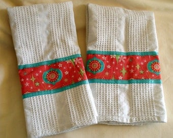 Christmas Towels, Coral and Aqua Christmas Towels, Christmas Kitchen Towels, Holiday Home Decor