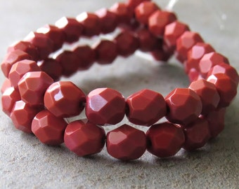 Burnt Umber Czech Glass Bead 6mm Faceted Round : 25 pc Adobe Brick 6mm Round Bead