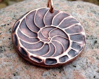 Copper Natures Spiral Pendant, Nautilus, Shell Imprint, Rustic Jewelry, Spiral of Life