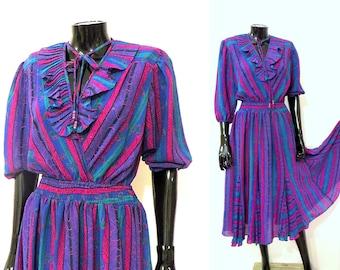 Vintage 80s Colorful Gypsy Bohemian Sheer RUFFLED Dress/ Diane Freis Look alike Sz Medium