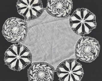 "Vintage / Doily / Cotton Fabric Center / 7 1/2"" Diameter"