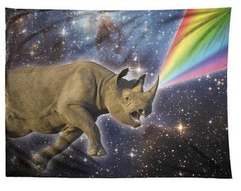 Rhinocorn, Rhino, Rainbow, Space, Tapestry
