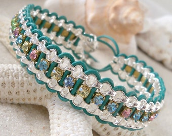 Leather and Chain Bracelet - Christmas Gift Idea - Rhinestone Chain Bracelet -  Chain Bracelet - Rhinestone Bracelet - Beaded Wrap Bracelet
