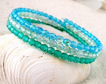 Glass Bead Bracelet - Bead Bracelet - Memory Wire Bracelet - Beaded Bracelet - Blue  Bracelet - Green Bracelet - Gift for Women - Gift Idea