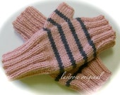 Fingerless Mittens, Ladies and Teens, Hand Knit, Dusty Pink and Charcoal