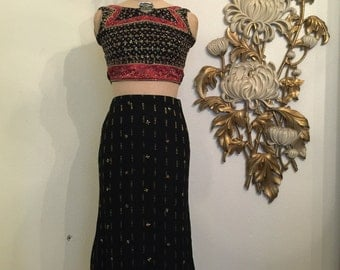 Gypsy dress beaded set size x small maxi skirt and top lace up top crop top and skirt indian dress festival dress