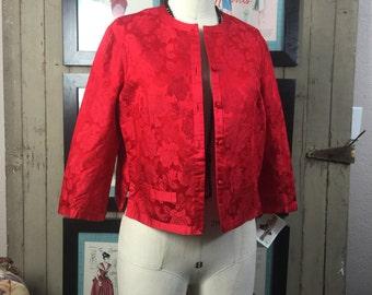1950s red jacket 50s silk jacket size medium Vintage cropped jacket Asian brocade jacket