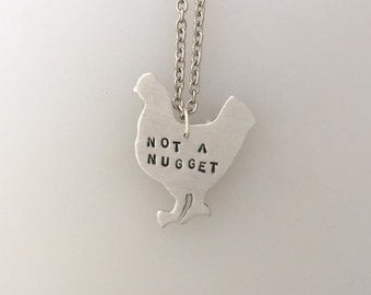 New-Not a Nugget Chicken Necklace-Vegan Necklace-Vegan Jewelry-Chicken Rescue-Chicken Necklace-Farm Animal Sanctuary-Farm Animal Jewelry