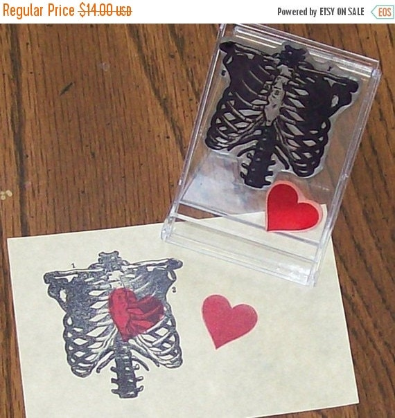 Xmas in July Anatomical Ribcage with bonus Heart Rubber Stamps Set ATC ACEO sized 006