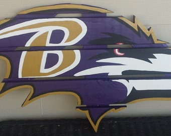 Baltimore Ravens sign made from recycled pallets, hand painted