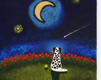 Dalmatian Dalmation Dog Moon Stars original folk art painting by Todd Young