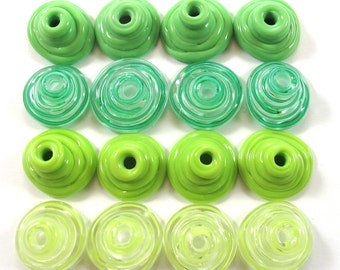 Handmade Lampwork Beads Glass, Lampwork beads set, Cone Shape Bead Caps, green (16) SRA