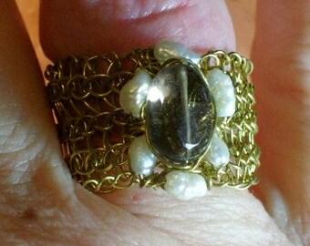 Viking Knit Smokey Quartz and Freshwater Pearl Ring