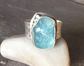30% OFF - Raw Apatite Sterling Silver Recycled 22K Gold Wide Band Bold Ring - US Size 8