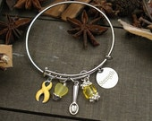 Endometriosis Spoonie Bracelet / Spoon Theory Jewelry / Invisible Chronic Illness Awareness / YELLOW Ribbon Charm