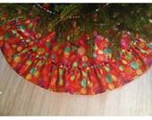 Large Christmas Tree Skirt, Colorful Tree Skirt, Onaments Tree Skirt