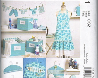 McCalls 6051 Laundry Room Accessories Apron Ironing Board Cover Bins Bags Sewing Pattern NEW