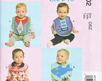McCalls 7302 Baby Girls Boys Infants Bibs Sewing Pattern NEW
