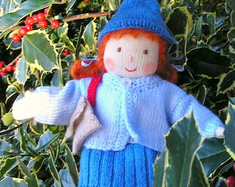 Hand-knitted Rag Doll with gorgeous hand-knitted clothes, red-haired