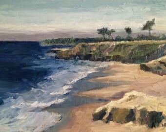 Santa Cruz California seascape oil painting - Lighthouse Field State Beach
