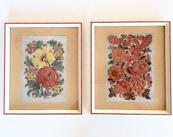 Russian Folk Art Prints: Vintage 60s Floral Lithograph Prints. Red Yellow Orange, Flowers, Birds, Leaves. Sweet Pretty Retro Wall Art Pair.