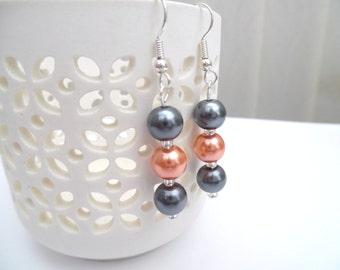 Orange and Slate Gray Pearl Earrings, Bridesmaid Earrings, Jewelry For Bridesmaids, Pearl Beaded Earrings, Wedding Jewelry, Dangle Earrings