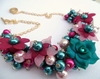Teal and Hot Pink Beaded Floral Necklace, Rose Flower Statement Jewelry, Cluster Necklace, Chunky Necklace, Pretty Gift, Choker Style