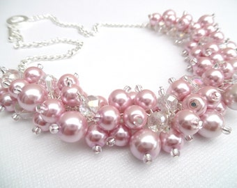 Set of 9 Necklaces Bridesmaids Pink Pearl Beaded Necklace with Crystals, Bridal Jewelry, Cluster Necklace, Chunky Necklace, Bridesmaid Gift
