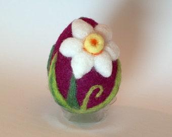 Needle Felted Easter Egg Purple Daffodils