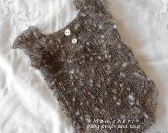 Gray bodysuit  -baby photo props