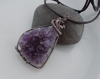Amethyst Crystal Cluster Pendant Oxidized Copper Wire Wrapped Jewelry Handmade Purple Crystal Pendant Druzy Renaissance Amulet Medallion