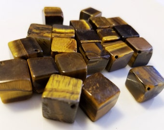Square Cube Brown and Gold Catseye Cat Eye Beads 12mm, 21 pieces