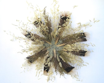 Brown Black Gold Wheat and Feathers Dried Wreath
