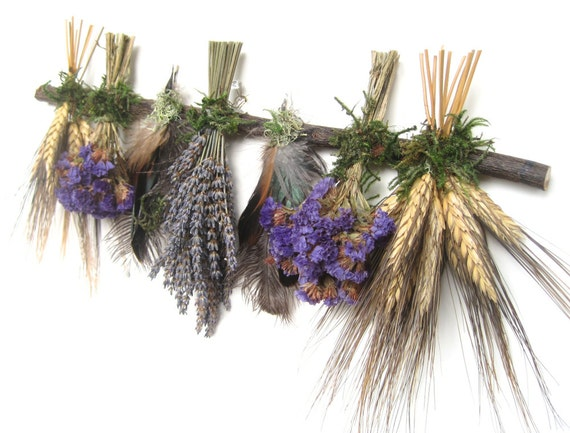 Black Purple Blue Hydrangea Lavender Dried Flower Swag Sampler