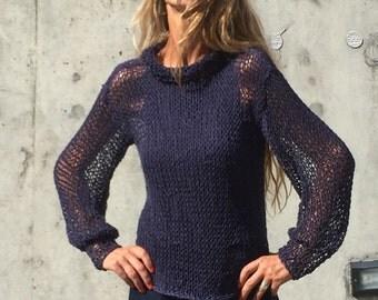 Navy Blue sweater, Blue summer loose knit sweater, blue blouse sweater, light weight cotton linen sweater