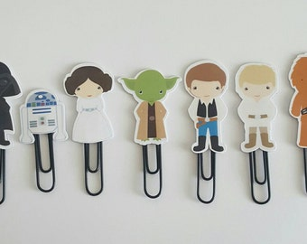LAMINATED Space Wars Planner Clips Bookmarks Paper Clips (set of 7)