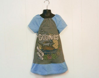 Upcycled Girls toddler Goonies peasant dress made from upcycled men's t-shirt 4t 5t