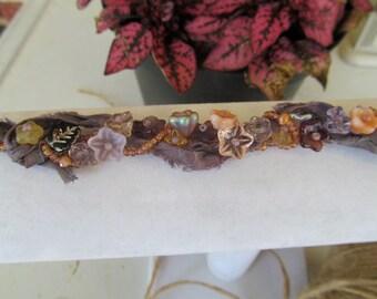 Beaded Bracelet, Flower Beads, Glass Beadwoven Bracelet, Purple, Boho Chic, Nature Inspired, Gift for Her, Prom, Wedding Corsage, Garden