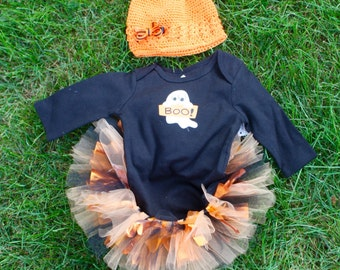 Glow in the dark Ghost Tutu Costume set with shirt, tutu, hat and bow 0-3 months