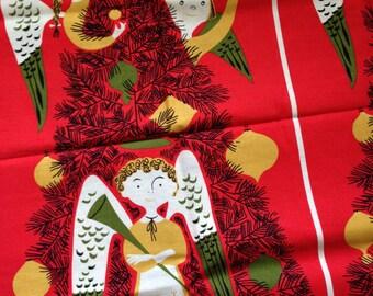 Tammis Keefe  Tribute - Cotton panel - angels - trees - unwashed - Tammis angels - retro