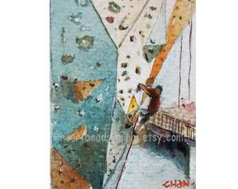 Driven up a Wall, original aceo painting, wall climbing, peinture, sports, id1330179, atc, not a print, wall art