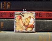 Tasha Tudor Pendant Girl Picking Apples - Tasha Tudor Book Vintage Illustration -  Double Sided Apple Basket Pendant - Tasha Tudor Jewelry