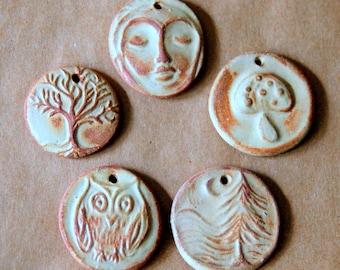 5 Handmade Ceramic Pendant Beads -  Primitive Pendant Beads in Autumn Rustic Rust Stoneware