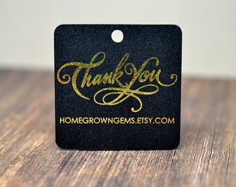 Glitter Metallic Gold Thank You Hang Tags - Gift Tags - Packaging - Shinny - Wedding