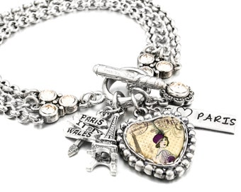 Paris Jewelry, Paris Bracelet, Eiffel Tower Jewelry, French Charm Bracelet, Eiffel Tower Charm