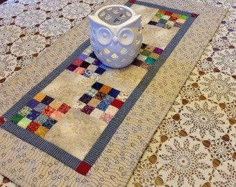 Handmade patchwork table runner/dresser scarf quilted decor