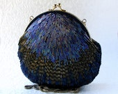 Peacock Blue Vintage Beaded Evening Bag Purple Carnival Glass Bead Handbag Hand  Made Long Across Body Shoulder Strap Formal 80s Indigo Navy