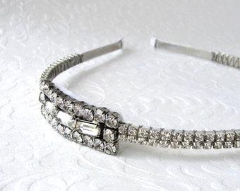 Rhinestone Jewelry Side Headband Art Deco Style 1920s Headpiece Wedding Hairpiece Flapper Headpiece Downton Gatsby Bride Hair Accessories