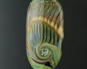 Handmade Lampwork Focal Bead - Green and Purple Shibori